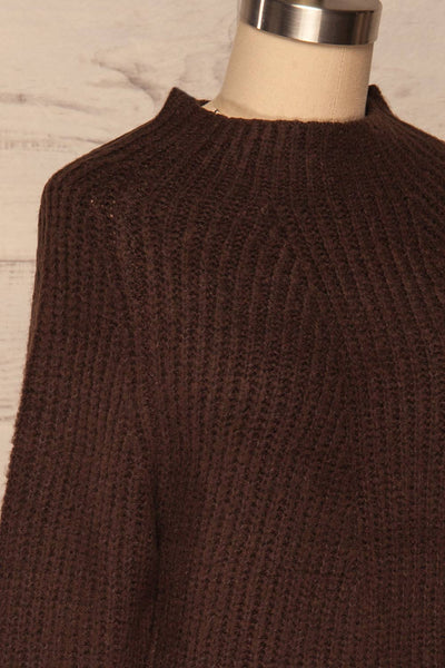 Dufay Marron Brown High Neck Sweater  | SIDE CLOSE UP | La Petite Garçonne