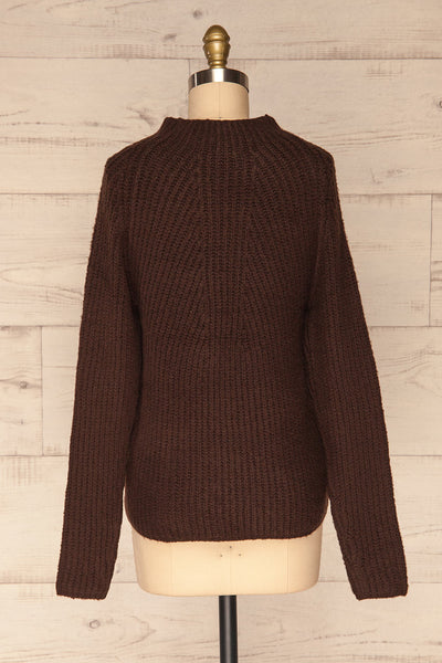 Dufay Marron Brown High Neck Sweater | BACK VIEW | La Petite Garçonne