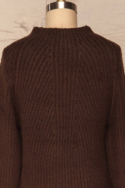 Dufay Marron Brown High Neck Sweater  | BACK CLOSE UP  | La Petite Garçonne
