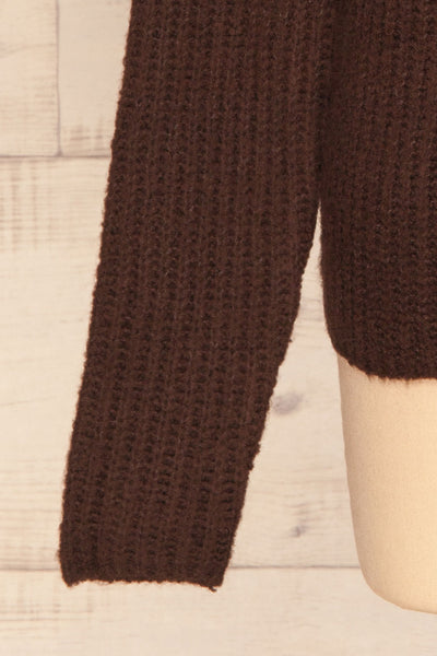 Dufay Marron Brown High Neck Sweater  | BOTTOM  CLOSE UP | La Petite Garçonne
