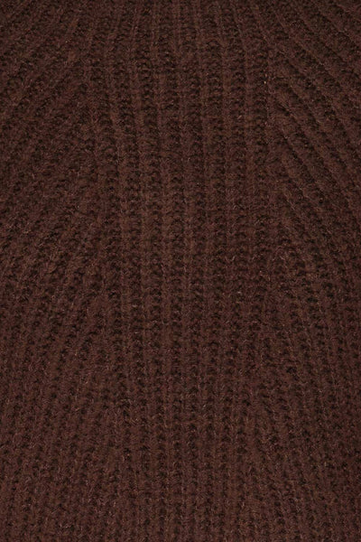 Dufay Marron Brown High Neck Sweater  | TEXTURE DETAIL | La Petite Garçonne