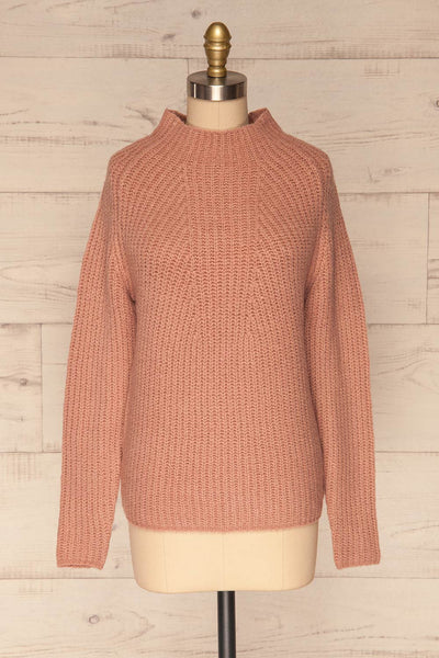 Dufay Rose Dusty Pink High Neck Sweater | FRONT VIEW | La Petite Garçonne