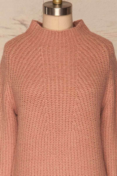 Dufay Rose Dusty Pink High Neck Sweater| FRONT CLOSE UP | La Petite Garçonne