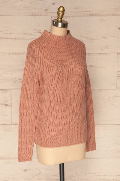 Dufay Rose Dusty Pink High Neck Sweater | SIDE VIEW | La Petite Garçonne