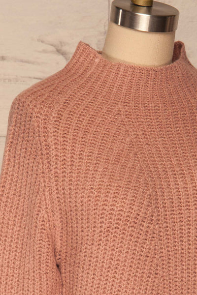 Dufay Rose Dusty Pink High Neck Sweater | SIDE CLOSE UP | La Petite Garçonne