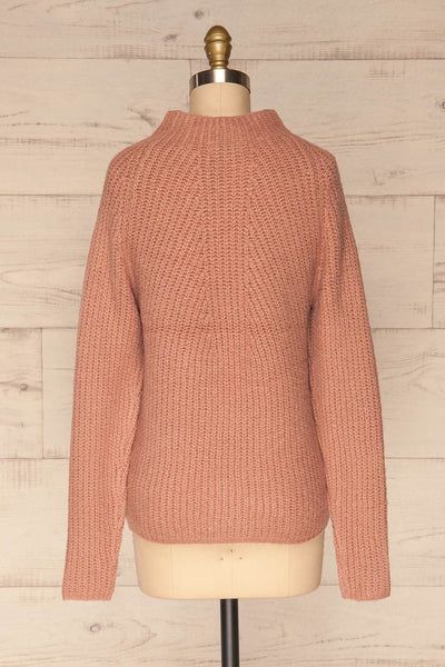 Dufay Rose Dusty Pink High Neck Sweater | BACK VIEW | La Petite Garçonne
