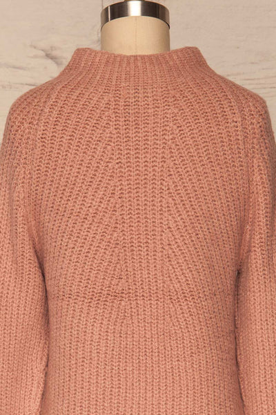 Dufay Rose Dusty Pink High Neck Sweater | BACK CLOSE UP  | La Petite Garçonne