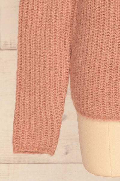 Dufay Rose Dusty Pink High Neck Sweater| BOTTOM  CLOSE UP | La Petite Garçonne