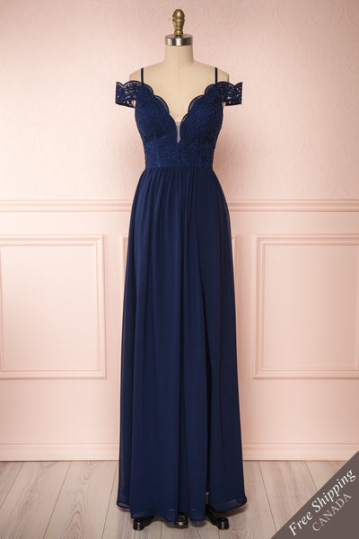 Dulcea Navy Chiffon Off-Shoulder Gown | Robe front view FS | Boudoir 1861