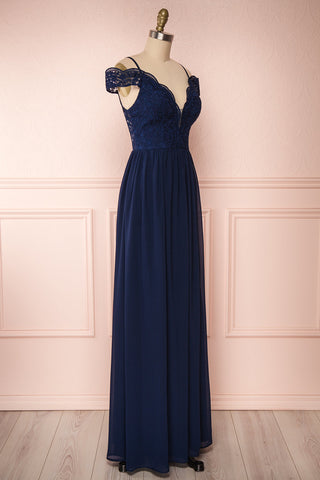 Dulcea Navy Chiffon Off-Shoulder Gown | Robe side view | Boudoir 1861