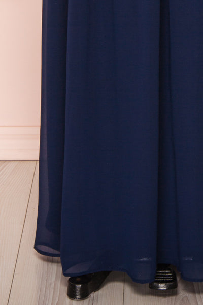 Dulcea Navy Chiffon Off-Shoulder Gown | Robe skirt | Boudoir 1861