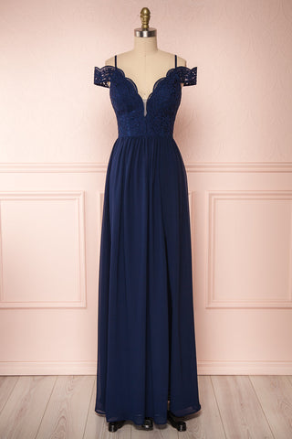 Dulcea Navy Chiffon Off-Shoulder Gown | Robe | Boudoir 1861