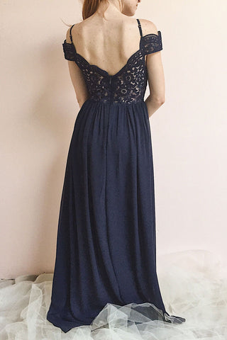 Dulcea Navy Chiffon Off-Shoulder Gown | Robe | Boutique 1861 model back