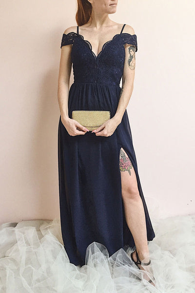 Dulcea Navy Chiffon Off-Shoulder Gown | Robe | Boutique 1861 on model