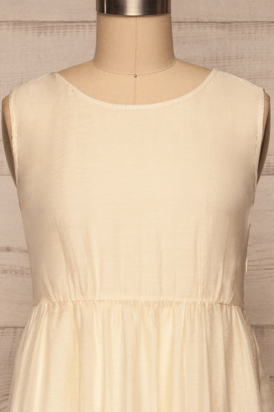 Duleek Off White A-Line Midi Dress front close up | La petite garçonne