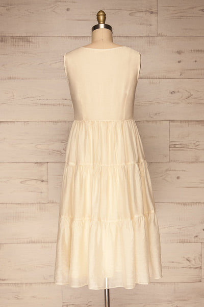 Duleek Off White A-Line Midi Dress back view | La petite garçonne