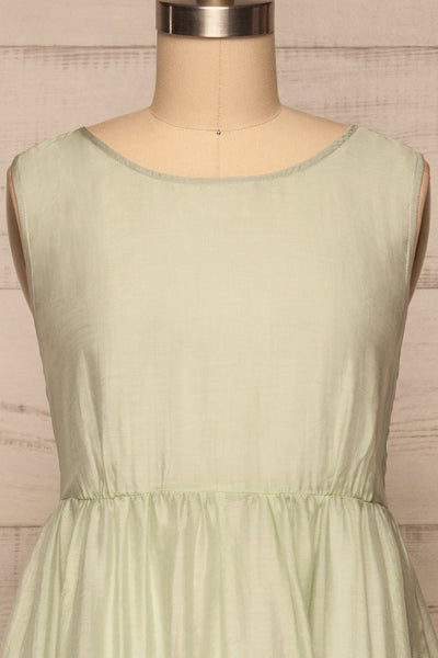 Duleek Sage Green A-Line Midi Dress front close up | La petite garçonne