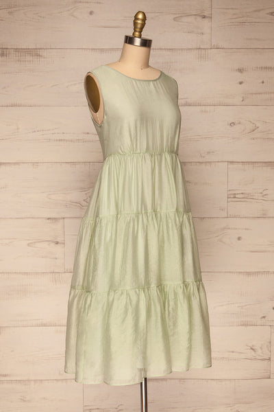 Duleek Sage Green A-Line Midi Dress side view | La petite garçonne