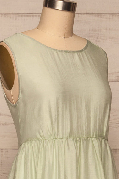 Duleek Sage Green A-Line Midi Dress side close up | La petite garçonne