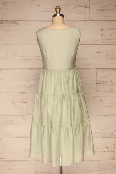 Duleek Sage Green A-Line Midi Dress back view | La petite garçonne