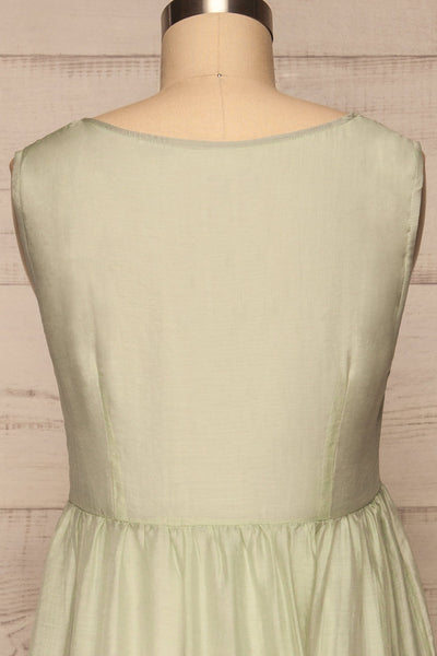 Duleek Sage Green A-Line Midi Dress back close up | La petite garçonne