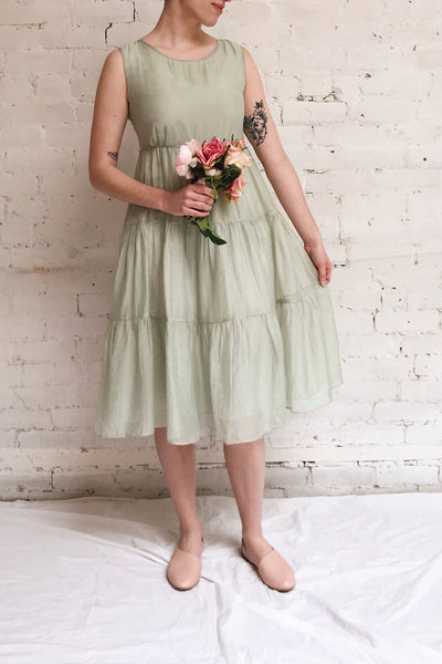 Duleek Sage Green A-Line Midi Dress | La petite garçonne model look
