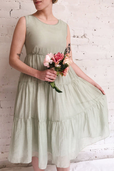 Duleek Sage Green A-Line Midi Dress | La petite garçonne on model