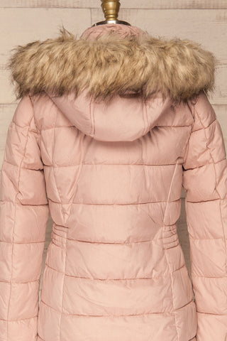 Dumfries Light Pink Parka Coat with Faux Fur Hood | La Petite Garçonne back close-up