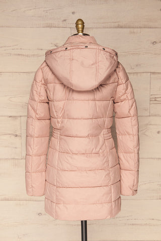 Dumfries Light Pink Parka Coat with Faux Fur Hood | La Petite Garçonne back view without fur