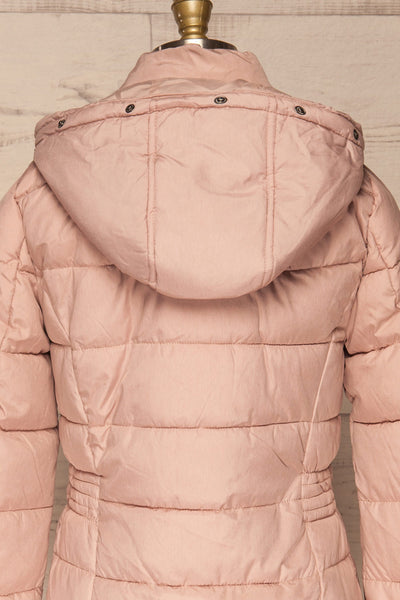 Dumfries Light Pink Parka Coat with Faux Fur Hood | La Petite Garçonne back close-up without fur