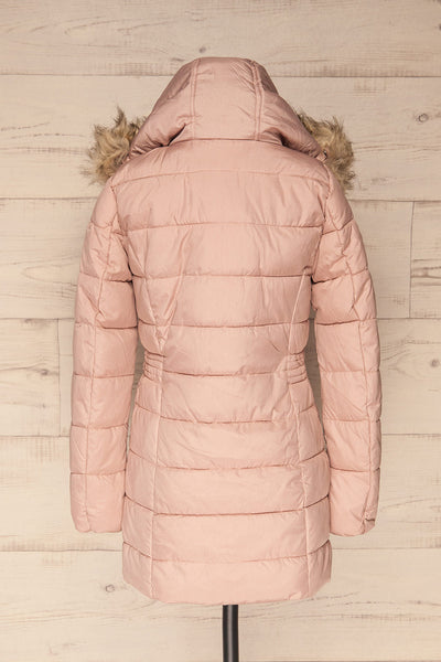Dumfries Light Pink Parka Coat with Faux Fur Hood | La Petite Garçonne back view hood