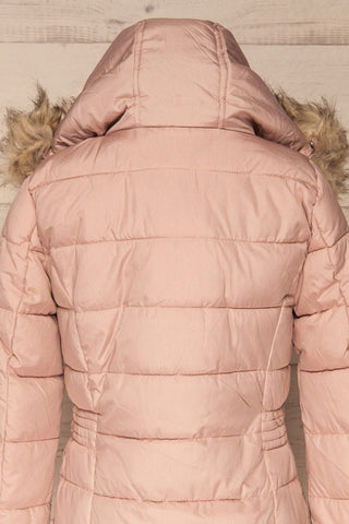 Dumfries Light Pink Parka Coat with Faux Fur Hood | La Petite Garçonne back close-up hood