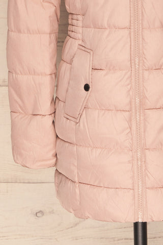 Dumfries Light Pink Parka Coat with Faux Fur Hood | La Petite Garçonne bottom close-up