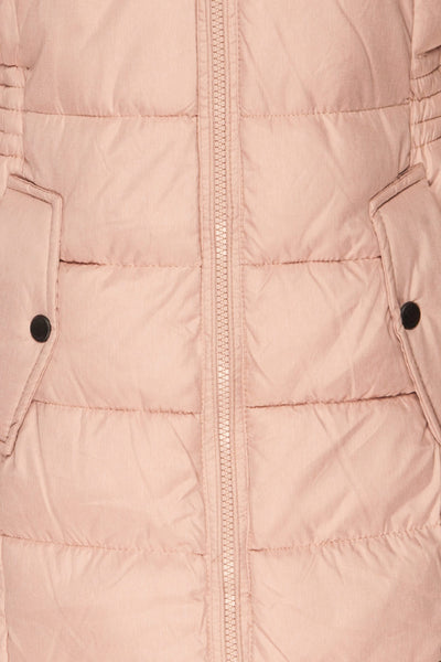Dumfries Light Pink Parka Coat with Faux Fur Hood | La Petite Garçonne fabric detail