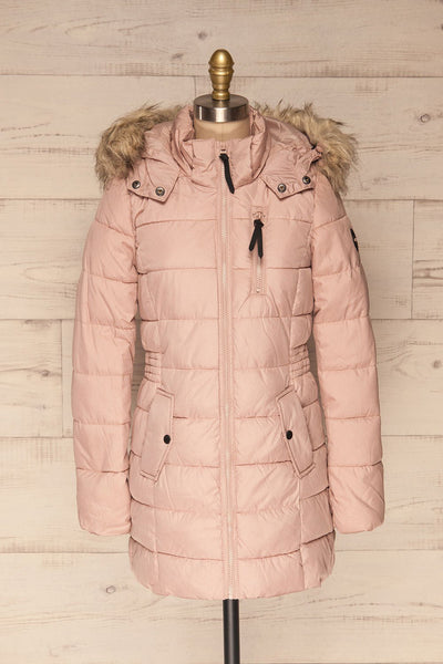 Dumfries Light Pink Parka Coat with Faux Fur Hood | La Petite Garçonne