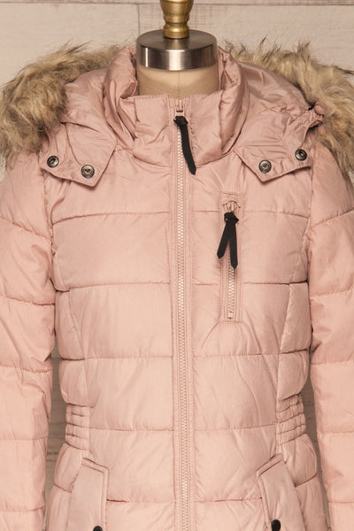 Dumfries Light Pink Parka Coat with Faux Fur Hood | La Petite Garçonne front close-up