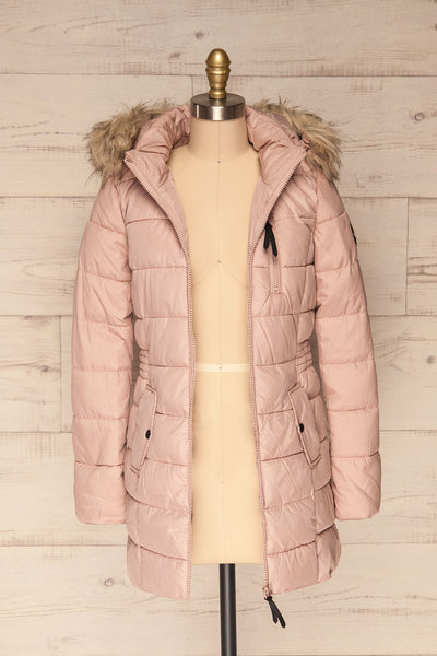 Dumfries Light Pink Parka Coat with Faux Fur Hood | La Petite Garçonne  front view open