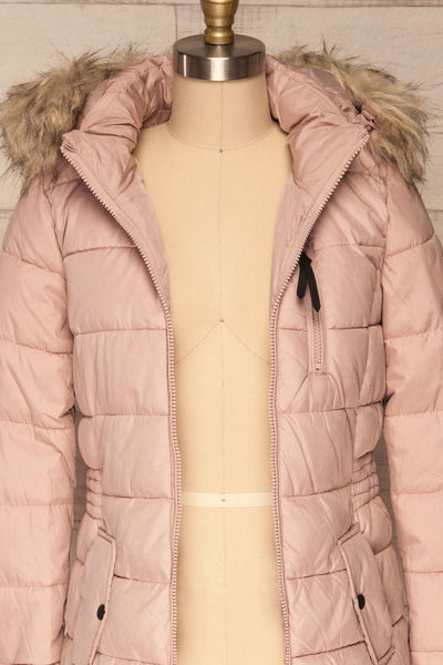 Dumfries Light Pink Parka Coat with Faux Fur Hood | La Petite Garçonne front close-up open
