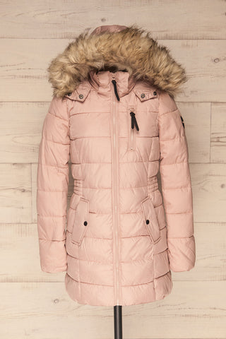 Dumfries Light Pink Parka Coat with Faux Fur Hood | La Petite Garçonne front view hood