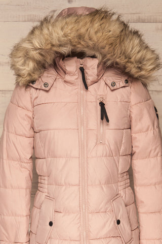 Dumfries Light Pink Parka Coat with Faux Fur Hood | La Petite Garçonne front close-up hood