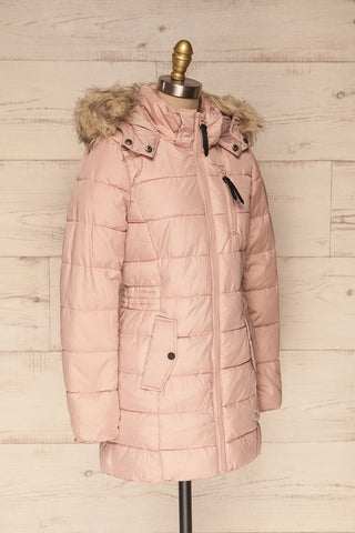Dumfries Light Pink Parka Coat with Faux Fur Hood | La Petite Garçonne side view