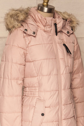 Dumfries Light Pink Parka Coat with Faux Fur Hood | La Petite Garçonne side close-up