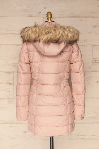 Dumfries Light Pink Parka Coat with Faux Fur Hood | La Petite Garçonne back view