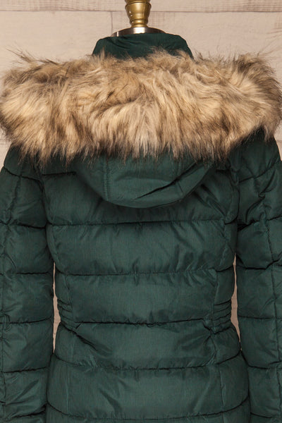 Dumfries Vert Green Parka Coat with Faux Fur Hood | La Petite Garçonne back close-up
