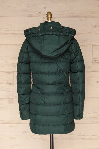Dumfries Vert Green Parka Coat with Faux Fur Hood | La Petite Garçonne back view without fur