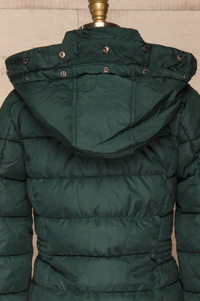 Dumfries Vert Green Parka Coat with Faux Fur Hood | La Petite Garçonne back close-up without fur