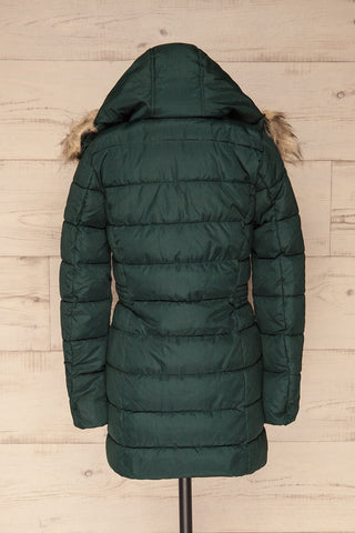 Dumfries Vert Green Parka Coat with Faux Fur Hood | La Petite Garçonne back view hood