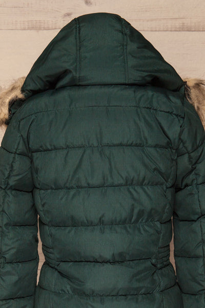 Dumfries Vert Green Parka Coat with Faux Fur Hood | La Petite Garçonne back close-up fur