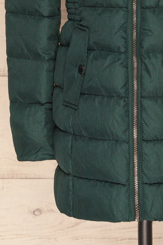 Dumfries Vert Green Parka Coat with Faux Fur Hood | La Petite Garçonne bottom close-up