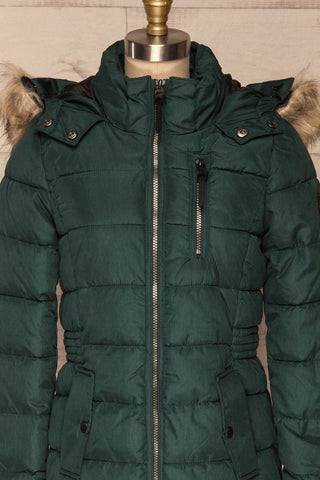 Dumfries Vert Green Parka Coat with Faux Fur Hood | La Petite Garçonne front close-up